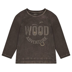 Camiseta de punto de manga larga con inscripción que contrasta y remaches de fantasía