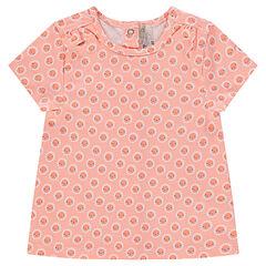 Camiseta de manga corta con estampado de flores de fantasía