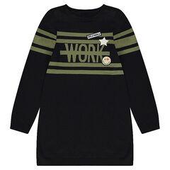 Júnior - Vestido tipo jersey de manga larga con bandas que contrastan y parches ©Smiley