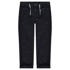 Pantalón liso de sarga con cordones de damero