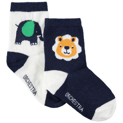 Juego de 2 pares de calcetines variados con animales de la selva