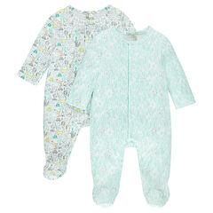 Pack de 2 pijamas de punto interlock con estampados all over
