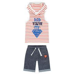 Conjunto de camiseta sin mangas a rayas con capucha con estampado de ©Warner Supermán y bermudas de felpa