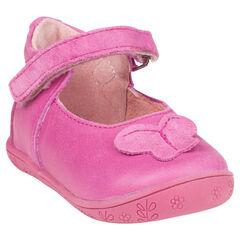 Zapatos merceditas de cuero rosa con detalle