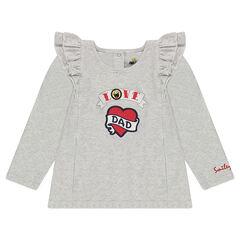 Camiseta de manga larga con volante con corazón estampado y ©Smiley