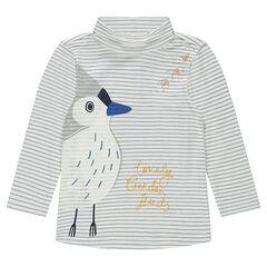 Camiseta interior con cuello enrollado con estampado de pájaro