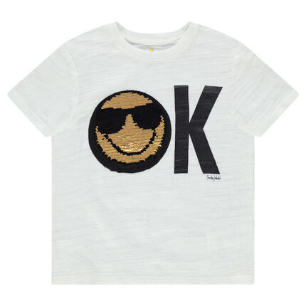 Camiseta de manga corta de punto con dibujo de ©Smiley de lentejuelas mágicas