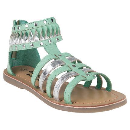 Nu-pieds en cuir style spartiates menthe et argent du 36 au 38