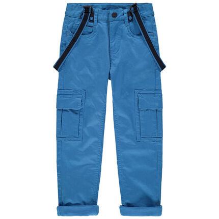 Pantalón azul con forro de punto con bolsillos y tirantes desmontables