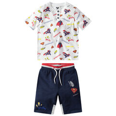 Conjunto con camiseta de manga corta y estampado Warner Superman all over con bermudas estampadas