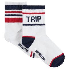 Juego de 2 pares de calcetines con rayas en contraste