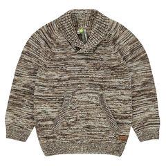 Jersey de punto asargado con cuello tipo chal y bolsillo de canguro