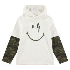 Camiseta de manga larga con capucha con efecto 2 en 1 y estampado de ©Smiley