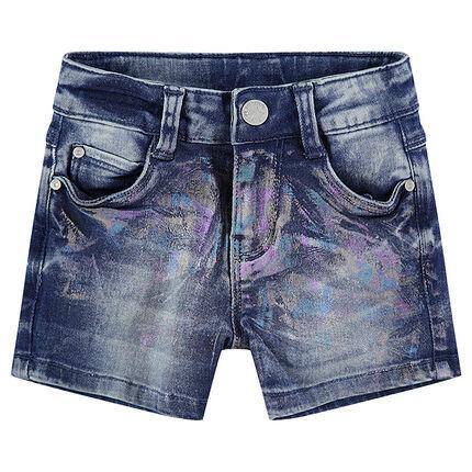 Pantalón corto vaquero con acabado arcoíris