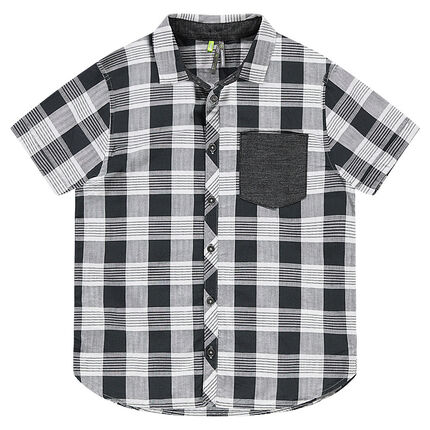 Júnior - Camisa de manga corta de cuadros all over con bolsillo tipo parche