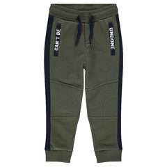 Pantalón de chándal de felpa con bolsillos con costuras y bolsillos estampados