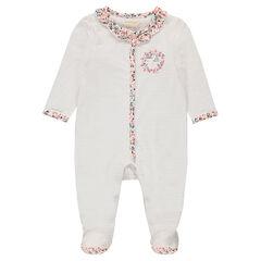 Pijama de punto a rayas con toques florales