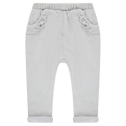 Pantalón de chándal de terciopelo con bolsillos con volantes