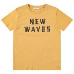 Júnior - Camiseta de punto de manga corta amarilla con mensaje estampado