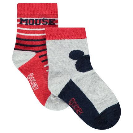 Juego de 2 pares de calcetines con dibujo de Mickey ©Disney/de rayas de jacquard