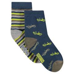 Juego de 2 pares de calcetines variados con dibujos/rayas de jácquard