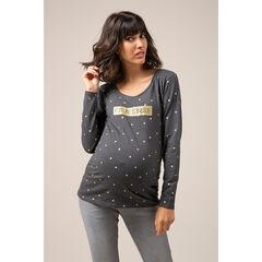 Camiseta premamá de manga larga de punto con mensaje estampado