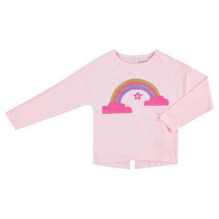 Camiseta de manga larga con arcoíris de lentejuelas mágicas