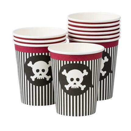 x 10 vasitos de cumpleaños Pirata con dibujo de calavera
