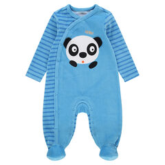 Pijama de terciopelo a rayas con panda bordado
