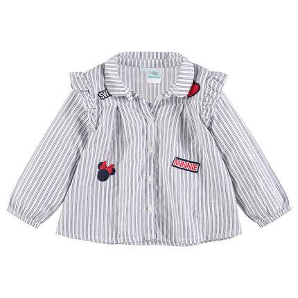 Camisa de manga larga de algodón con parches Minnie ©Disney