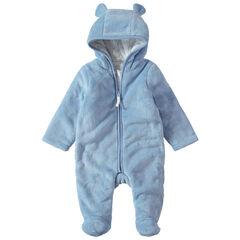 Mono de borreguillo azul con capucha y orejas con forro de punto