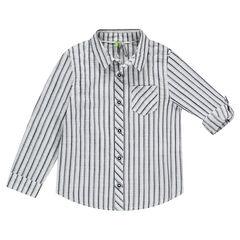 Camisa de manga larga a rayas con mangas que se pueden recoger