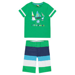 Pijama corto de punti con barcos estampados
