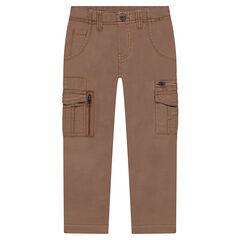 Pantalón de sarga teñida con bolsillos y cremalleras