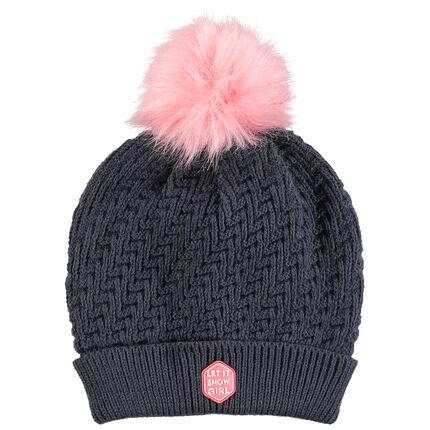 Júnior - Gorro de esquí de punto de fantasía con pompón rosa