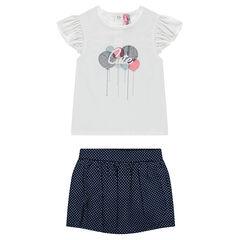 Conjunto de camiseta con globos bordados y pantalón corto plisado