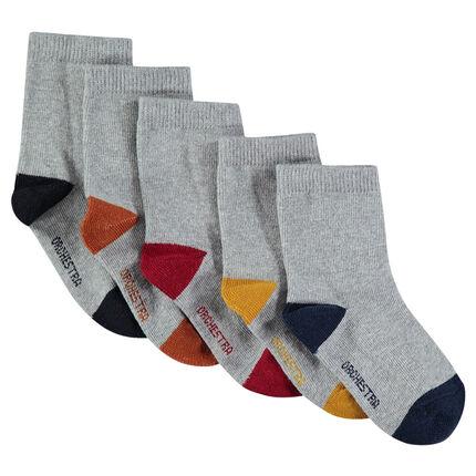 Juego de 5 pares de calcetines variados con puntera y talón en contraste