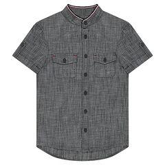 Júnior - Camisa de manga corta de chambray con bolsillos