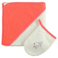 Set de bain cape + gant de toilette avec oiseau brodé
