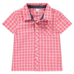 Camisa de manga corta de cuadros que contrastan con bolsillo