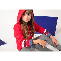 Júnior - Sudadera roja con capucha e inscripción de rizo