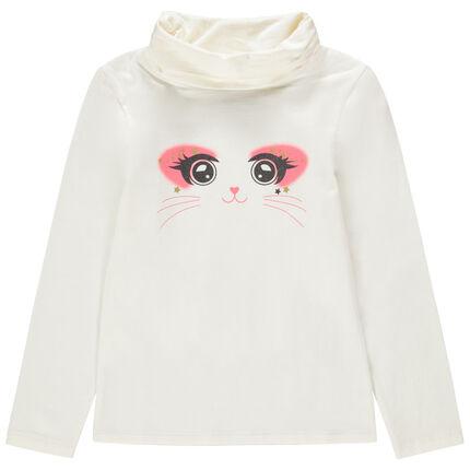 Camiseta interior con cuello vuelto de algodón ecológico con dibujo de fantasía