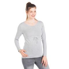 Jersey para el embarazo de punto plateado de color liso