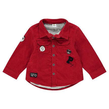 Camisa de pana con insignias ©Smiley y bolsillos