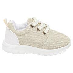 Zapatillas deportivas bajas doradas con cordones elásticos del 20 al 23