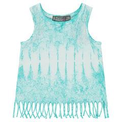 Camiseta de punto slub shibori con flecos