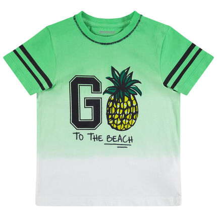 Camiseta de manga corta con efecto tie and dye y estampado de piñas