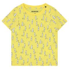 Camiseta de manga corta de punto con estampados de fantasía