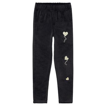 Leggings de pana de terciopelo liso con corazones bordados
