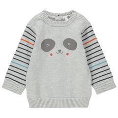 Jersey de punto con estampado de panda y rayas
